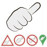 Sign of hitchhiking hand with finger to the top, vector sign of a passing car fist with  finger to the top. Sign of hitchhiking hand with finger to the top Royalty Free Stock Images
