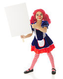 Sign-Holding Rag Doll Royalty Free Stock Images
