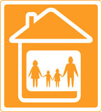 Sign with home and family silhouette Stock Images