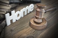 Sign Home,Judges Gavel And Old Book On Wood Table Stock Photography