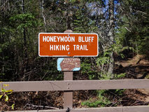 Sign for Honeymoon Bluff Hiking Trail Stock Photo