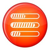 Sign horizontal columns load icon, flat style. Sign horizontal columns load icon in red circle isolated on white background vector illustration stock illustration