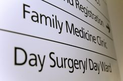 Sign In Hospital Stock Image