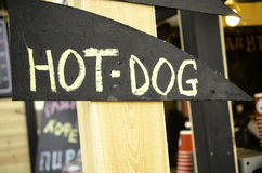 Sign hot dog in street. Royalty Free Stock Image