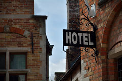 Sign hotel. In the old city Stock Images