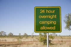 Australia Northern Territory Free Camping Sign. Sign for 24 hour free roadside camping in Australia Stock Image