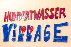 The sign of Hundertwasser Village in Vienna, Austria Stock Photos
