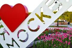 Sign I love Moscow. In the Park Tsaritsino Royalty Free Stock Photography