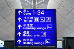 Sign   icon. Big  blue   color   sign   icon  at   the  airport Royalty Free Stock Photography