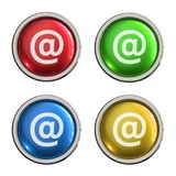 At sign icon glass button. At sign round shiny 4 color web icons with metal frame,3d rendered isolated on white background Stock Images