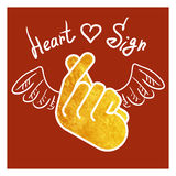 Sign icon symbol hand heart. Vector illustration. Korean symbol hand heart, a message of love hand gesture. Sign icon stylized for the web and print. The hand Royalty Free Stock Photos