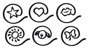 At-sign icons. At-sign icon set with star, heart, lips, sun, dog and bow-tie shapes stock illustration