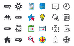 Sign in icons. Login with arrow, hand pointer. Stock Photo