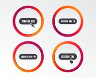 Sign in icons. Login with arrow, hand pointer. Sign in icons. Login with arrow, hand pointer symbols. Website or App navigation signs. Infographic design Royalty Free Stock Images