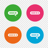Sign in icons. Login with arrow, hand pointer. Royalty Free Stock Images