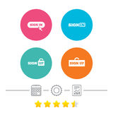 Sign in icons. Login with arrow, hand pointer. Royalty Free Stock Photos