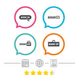 Sign in icons. Login with arrow, hand pointer. Royalty Free Stock Photo