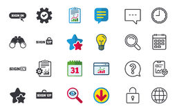 Sign in icons. Login with arrow, hand pointer. Stock Images