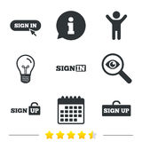 Sign in icons. Login with arrow, hand pointer. Sign in icons. Login with arrow, hand pointer symbols. Website or App navigation signs. Sign up locker Royalty Free Stock Photography