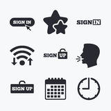 Sign in icons. Login with arrow, hand pointer. Stock Photos