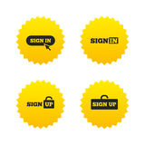 Sign in icons. Login with arrow, hand pointer. Royalty Free Stock Image