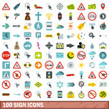 100 sign icons set, flat style Royalty Free Stock Images