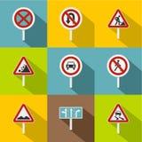 Sign icons set, flat style Stock Image