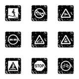 Sign icons set, grunge style stock illustration