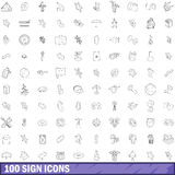 100 sign icons set, outline style. 100 sign icons set in outline style for any design vector illustration Royalty Free Stock Photography