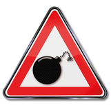 Sign ignited bomb. And explosion Royalty Free Stock Image
