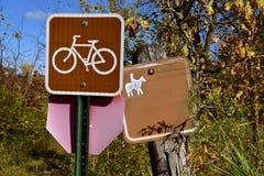 Sign indicating ok to bike and ride horseback Royalty Free Stock Images