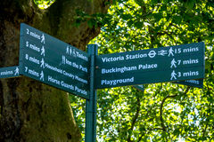 Sign indicates direction of movement in St. James park. London Royalty Free Stock Photos