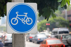 Sign Indicating Cycle Path Stock Images