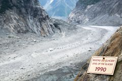 Sign indicating the level of the Glacier Mer de Glace in 1990, glacier melting illustration, in Chamonix Mont Blanc, France. Sign indicating the level of the Stock Image