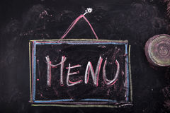 Sign indicating the menu Stock Images