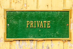 Sign indicating privacy Stock Image