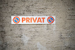 Sign indicating that this is a private parking space (Switzerland) Royalty Free Stock Image