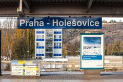 Free Sign Indicating The Praha Holesovice Train Station In Prague, On Its Arrival And Departure Platform. Stock Photos - 173283233