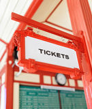 Sign indicating where you can buy tickets Stock Photography