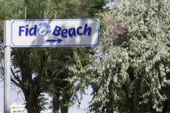 sign indication to dog beach, Adriatic Rimini Stock Photo