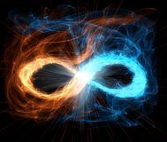 Sign infinity. Glowing bright infinity sign, black background Stock Images