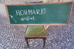 Sign with the inscription flea market in Quedlinburg stock images