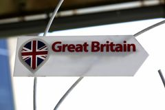 A sign with the inscription `Great Britain` in English. Stock Photo