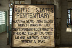 Sign inside Alcatraz Penitentiary Royalty Free Stock Photography
