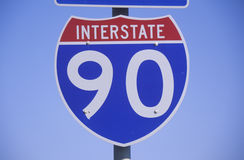 A sign for interstate 90 Royalty Free Stock Photo