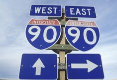 A sign for interstate 90 east and west Stock Image