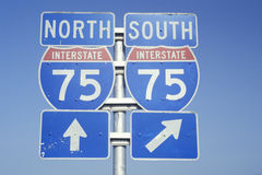 Sign for interstate 75 north and south Royalty Free Stock Photography