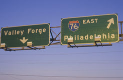 A sign for Interstate 76 in Philadelphia and Valley Forge Stock Photography