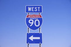 A sign for interstate 90 west in Minnesota Royalty Free Stock Photos