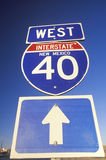 A sign for interstate 40 west in New Mexico Stock Photos